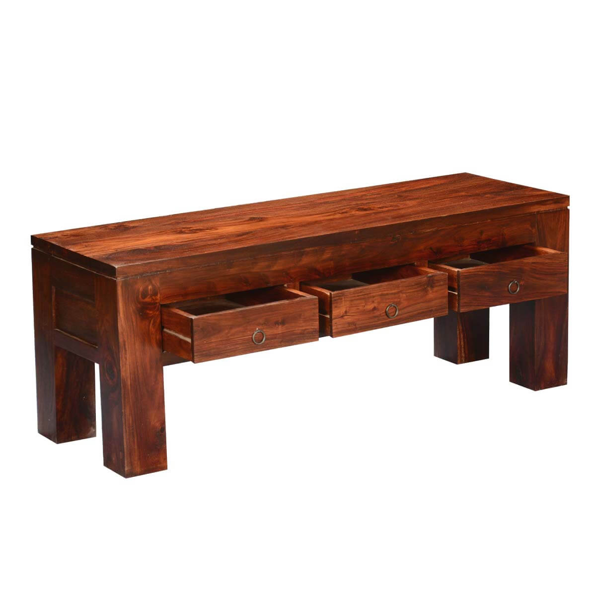 Mission modern solid wood hidden drawers coffee table for Solid wood coffee table