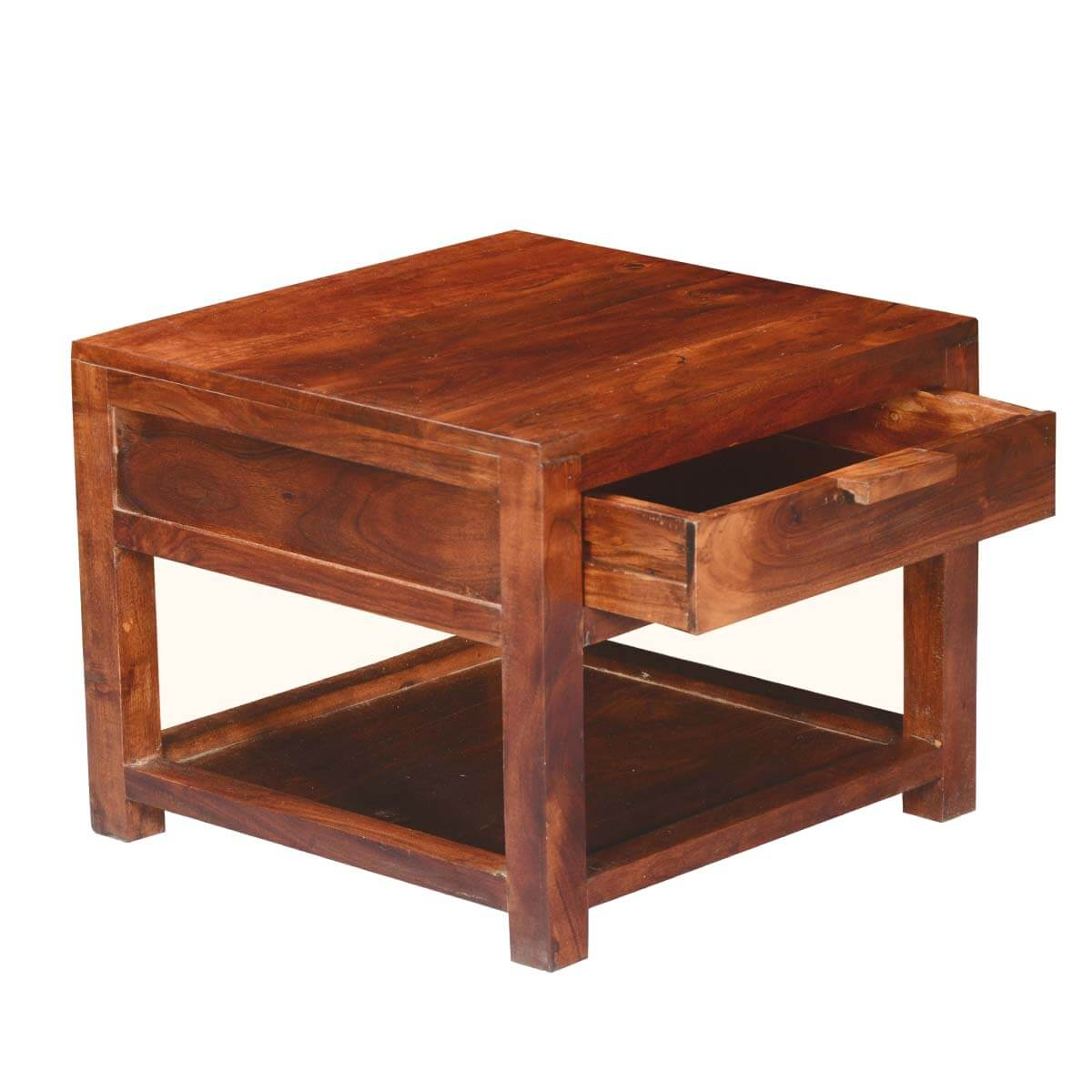 Rustic simplicity acacia wood square 2 tier small side for Small wooden side table