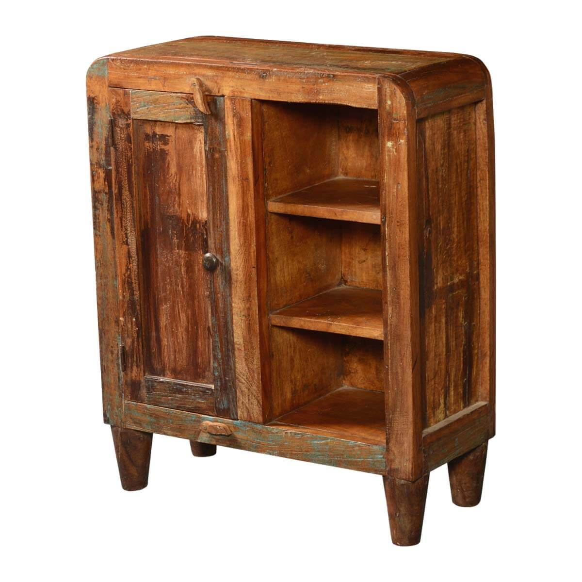 Reclaimed Wood Cabinets ~ Rounded corners reclaimed wood rustic cabinet w display