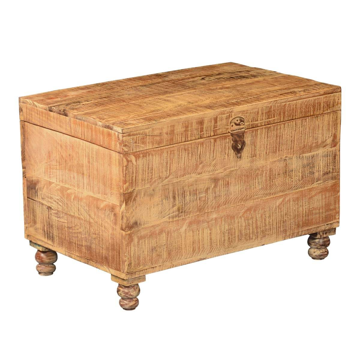 Rustic Wheat Mango Wood Standing Coffee Table Storage Chest