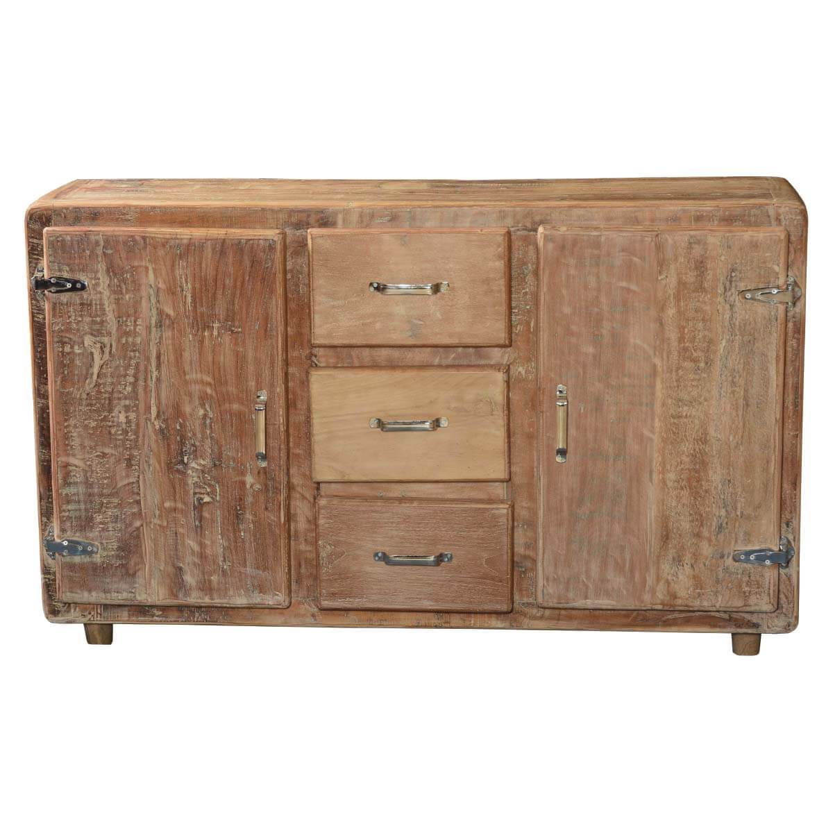 Newdale Rounded Corners Reclaimed Wood 3 Drawer Rustic
