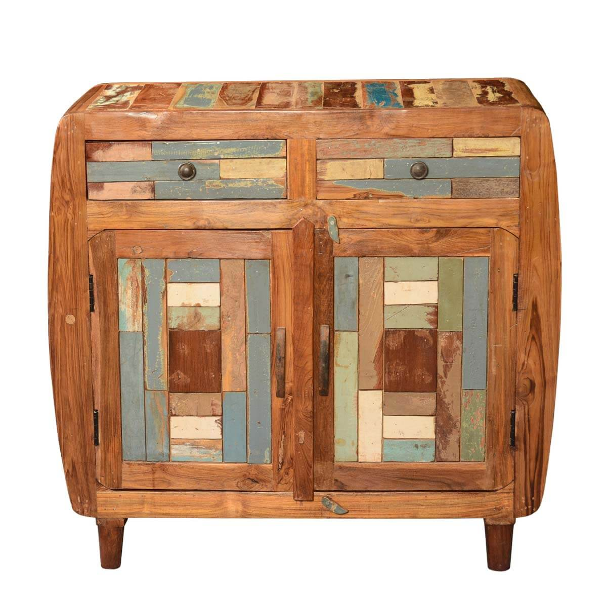 Rounded Corners Mosaic Reclaimed Wood Buffet Sideboard Cabinet