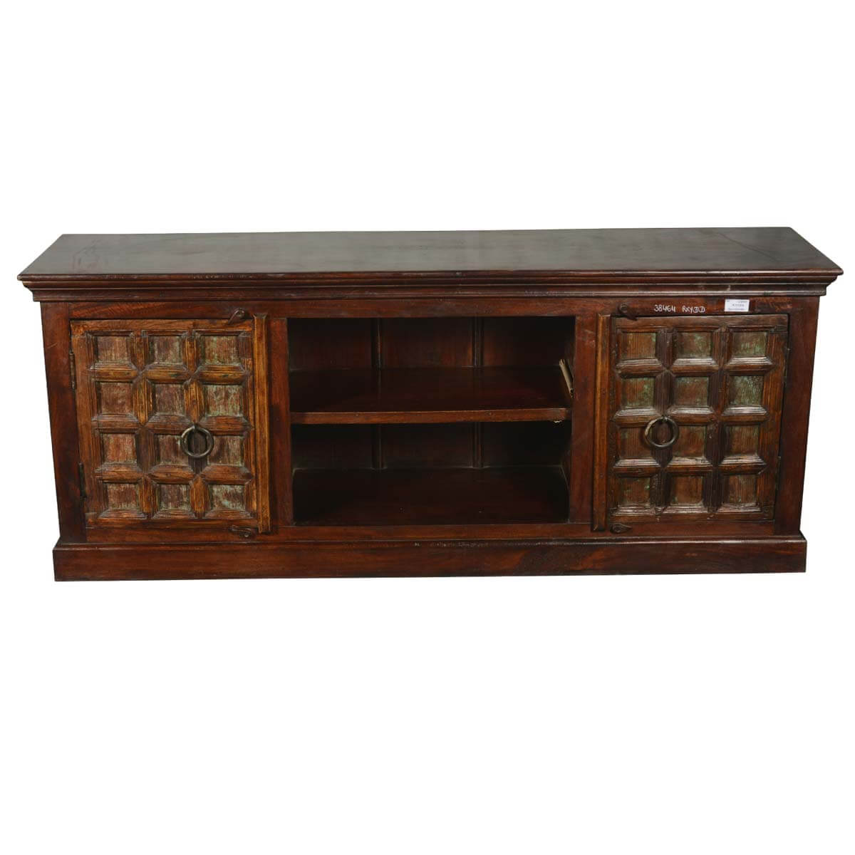 Italian gothic reclaimed wood tv console media cabinet for Tv media storage cabinet