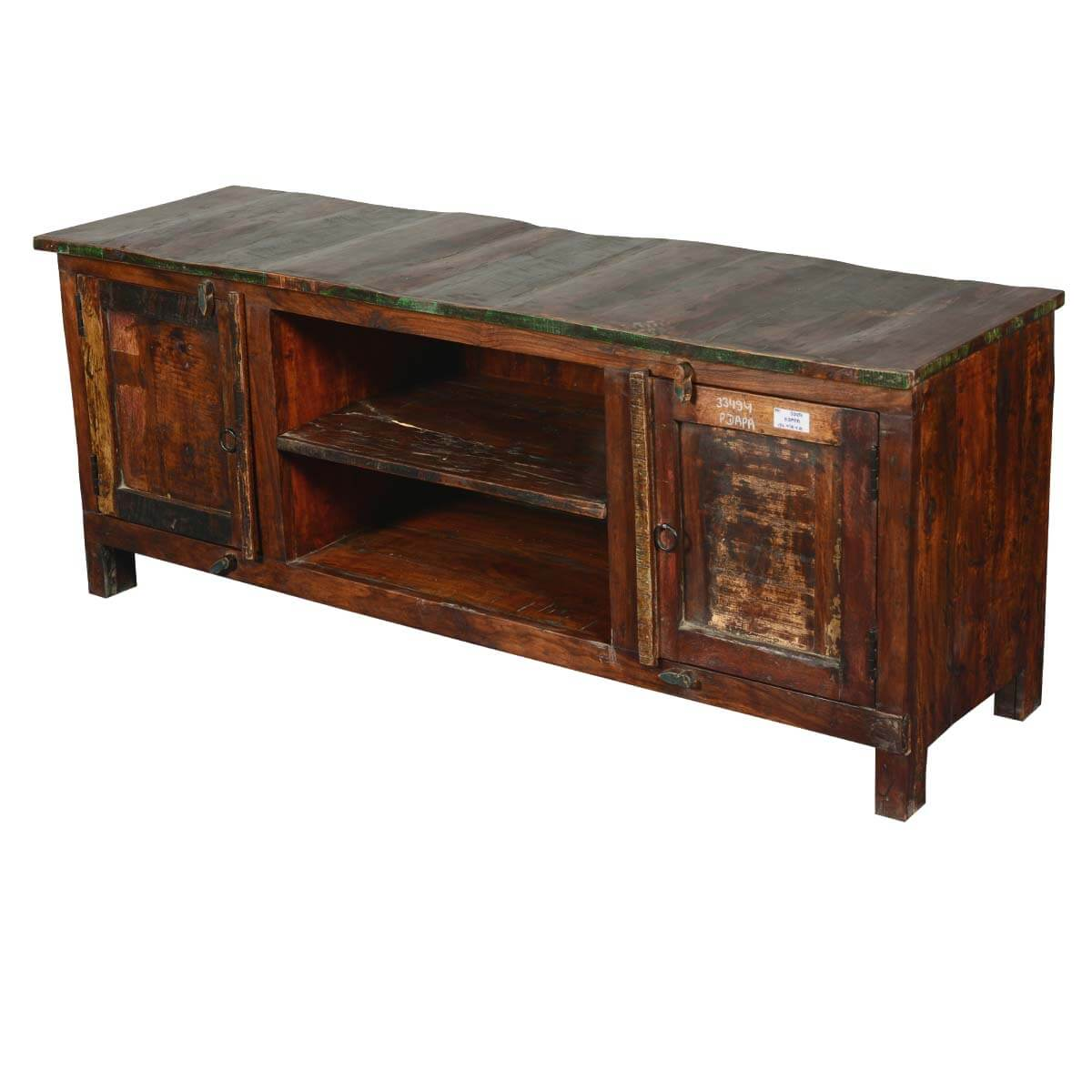 Frontier Rustic Reclaimed Wood Tv Console Media Cabinet