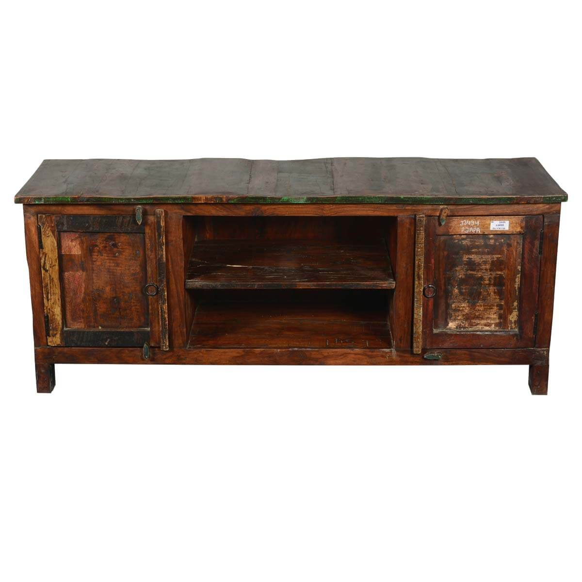 Frontier rustic reclaimed wood tv console media cabinet for Barnwood media cabinet