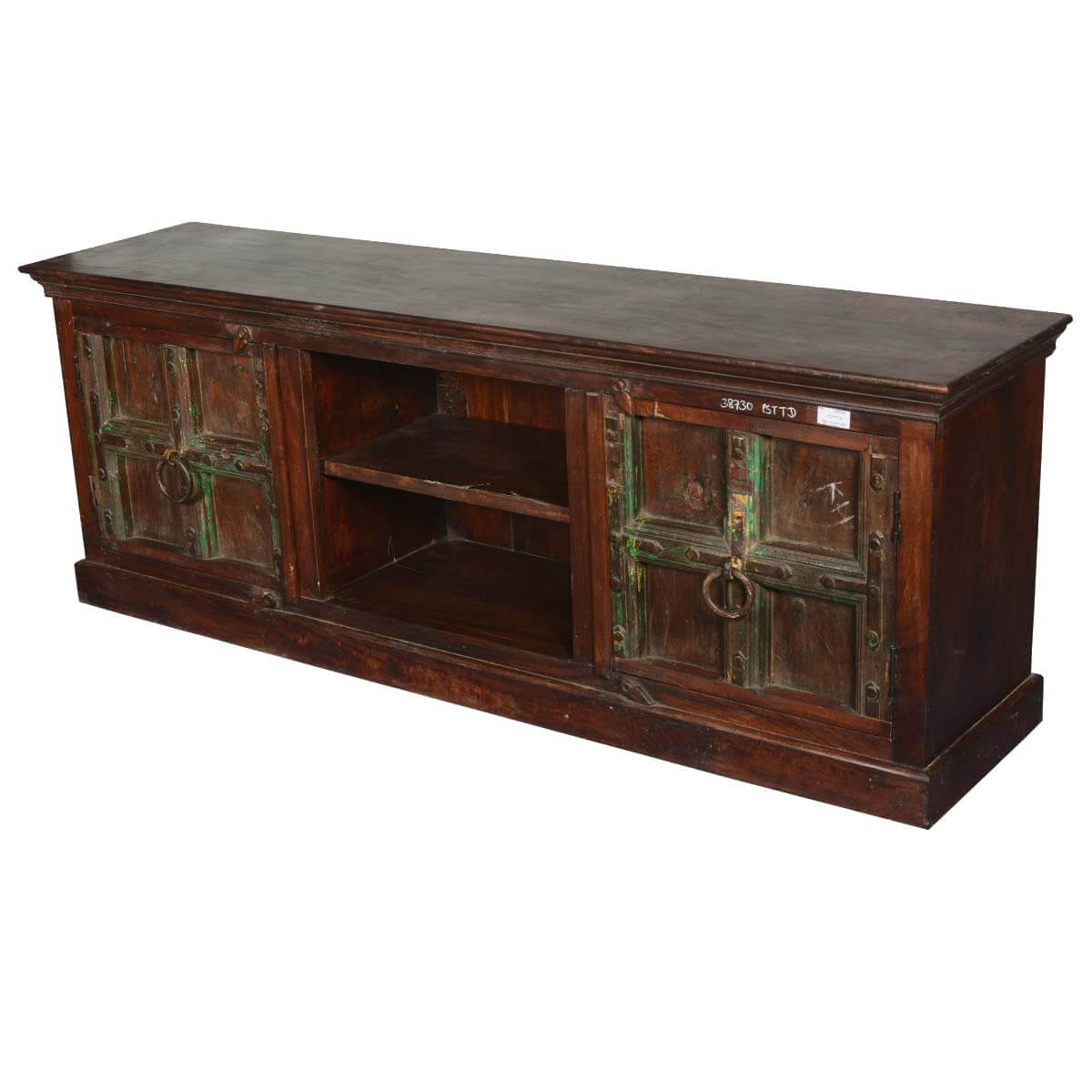 Traditional gothic reclaimed wood tv console media cabinet for Barnwood media cabinet