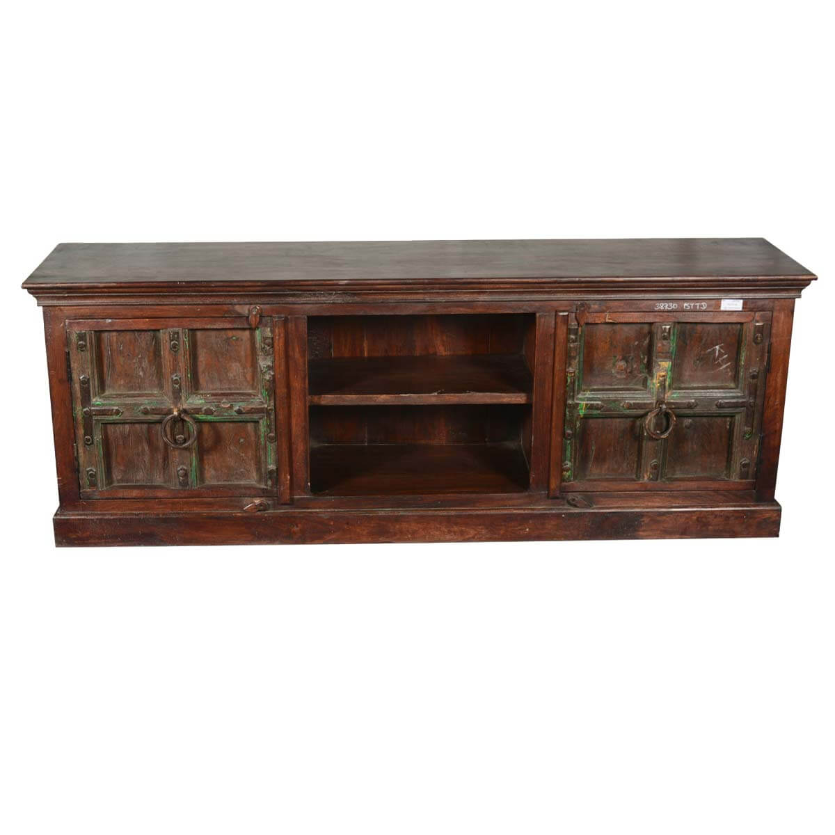 Traditional gothic reclaimed wood tv console media cabinet for Tv media storage cabinet