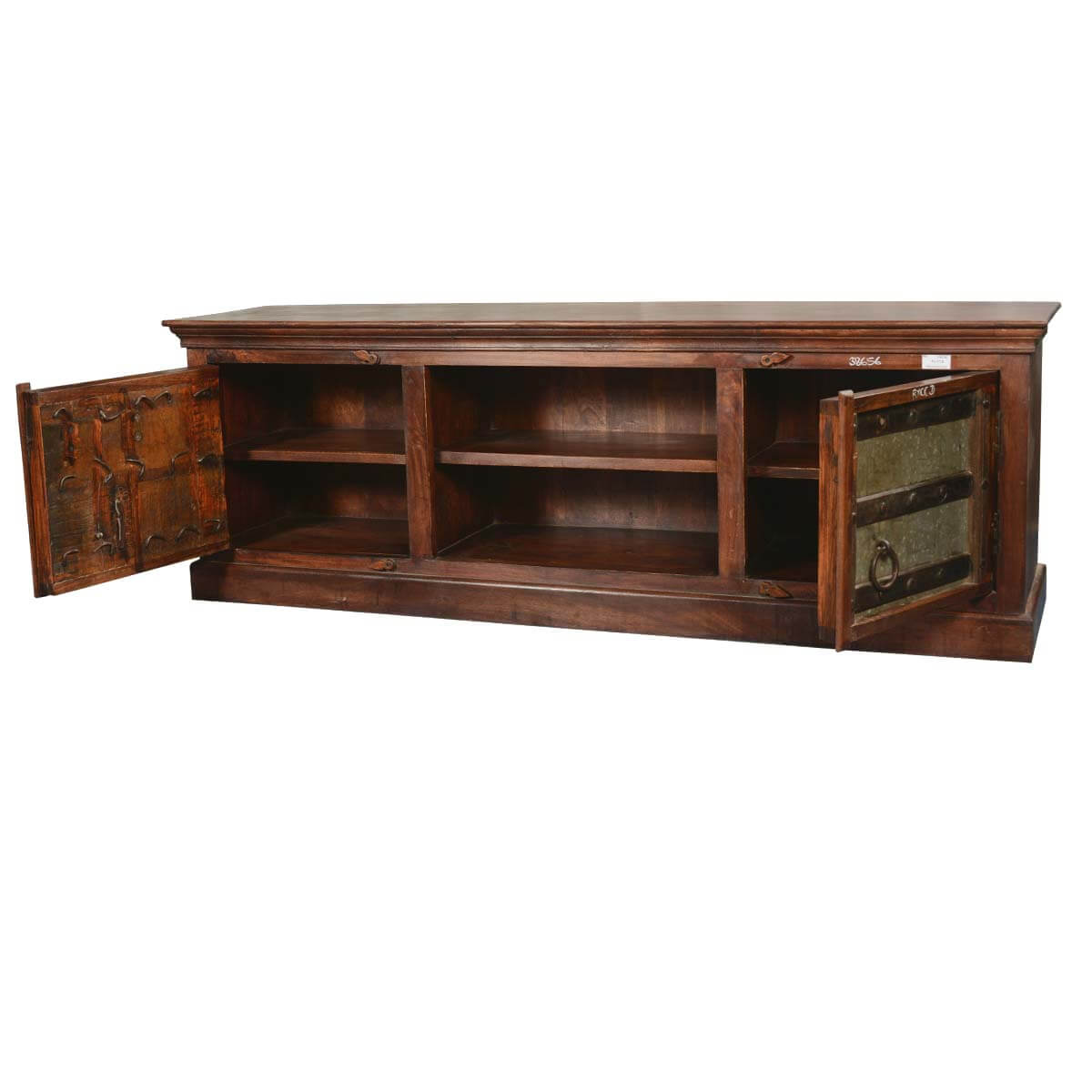 Contemporary Gothic Mango Reclaimed Wood & Iron TV Media Cabinet. Full resolution‎  snapshot, nominally Width 1200 Height 1200 pixels, snapshot with #B28C19.