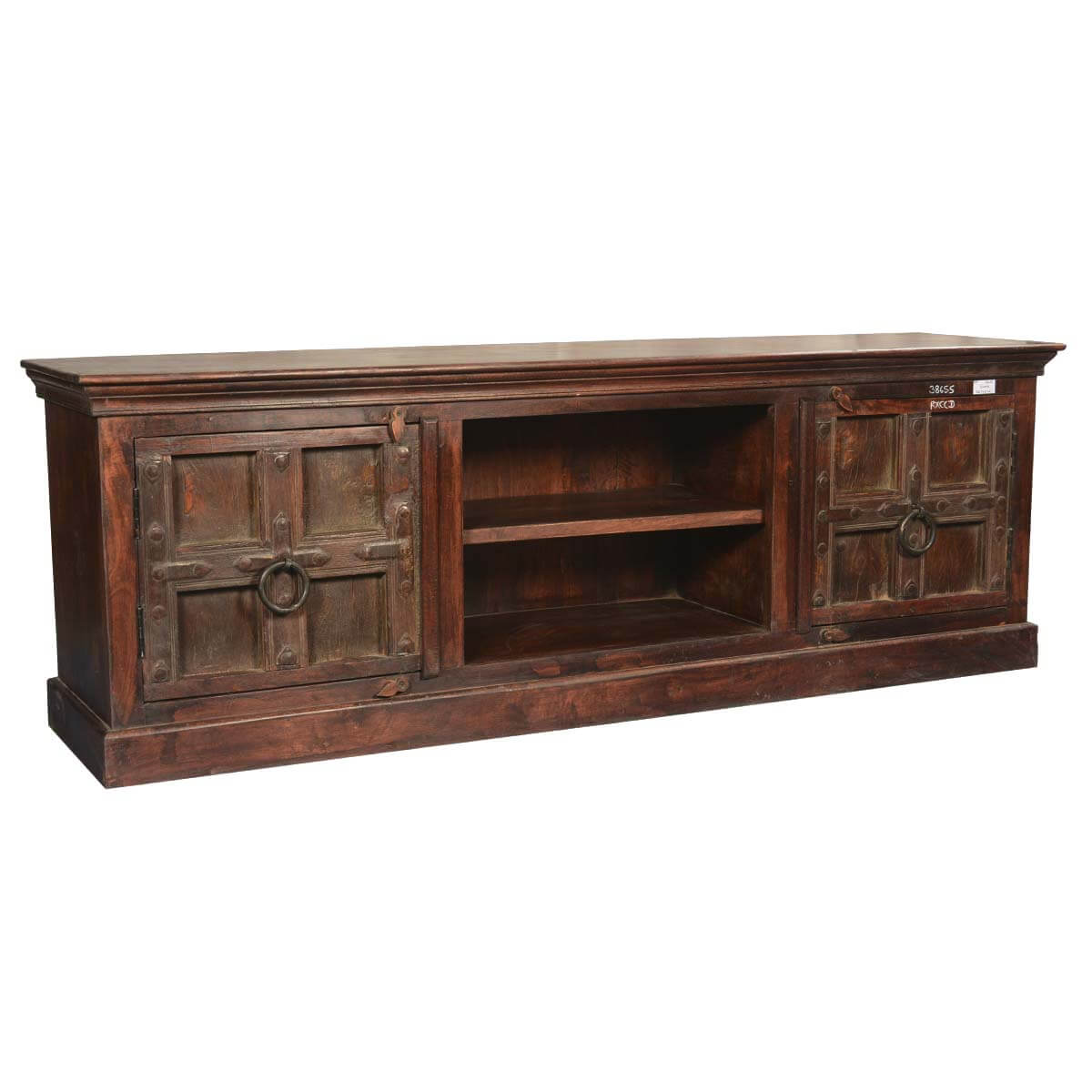 Simply gothic mango reclaimed wood media cabinet tv console