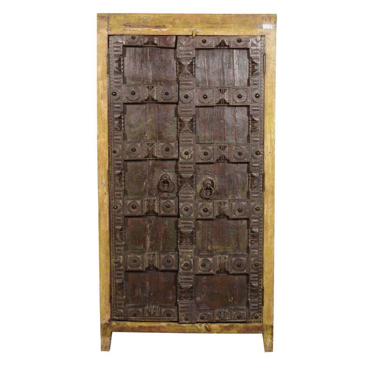 Antique door rustic armoire old reclaimed wood 5 storage for Old wood doors salvaged