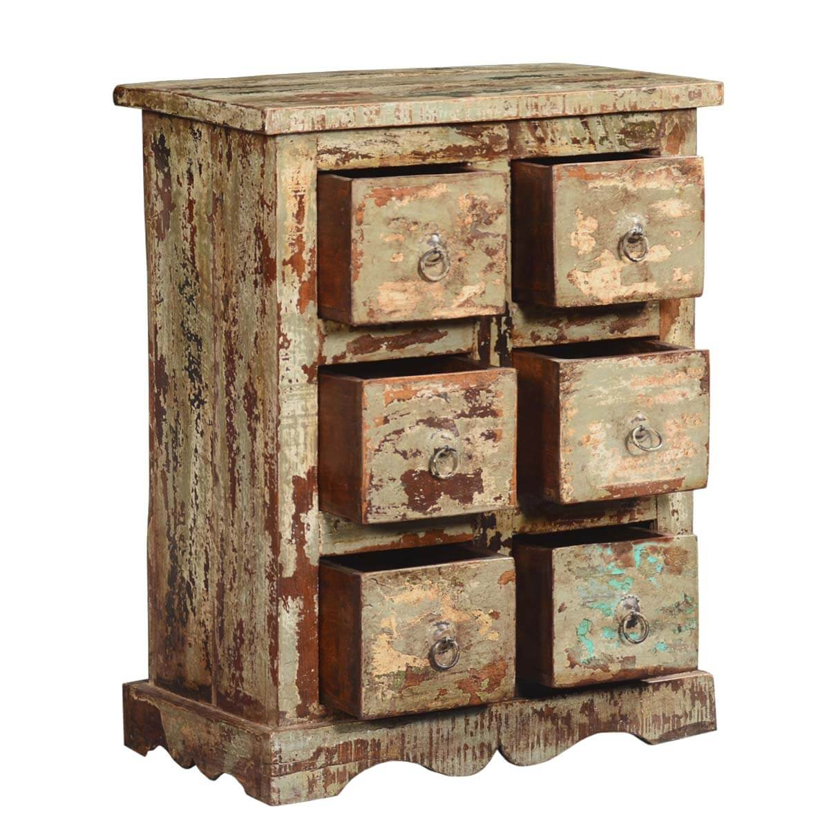 Winter White Federal Reclaimed Wood Nightstand End Table Chest