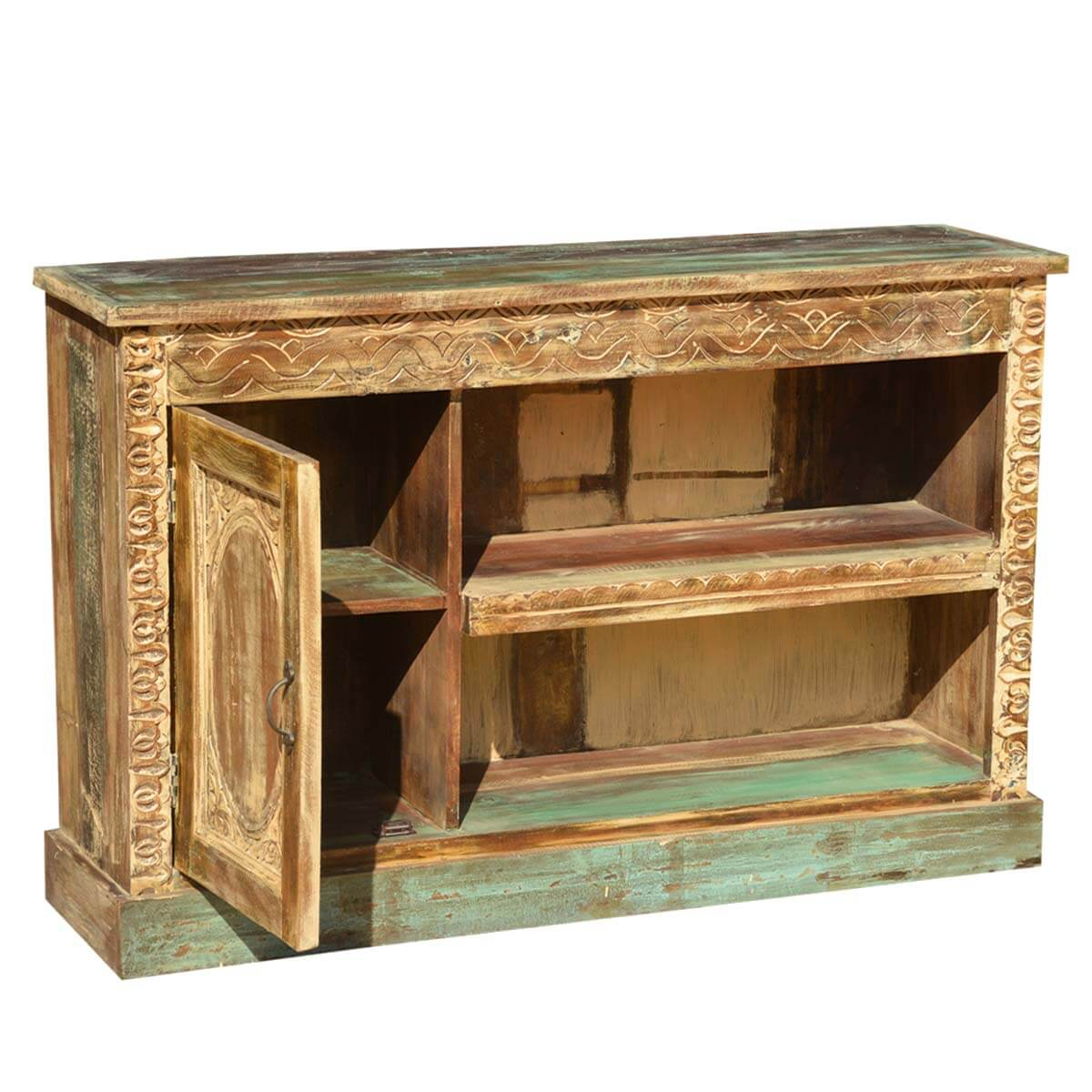 Elizabethan rustic reclaimed wood tv media console furniture