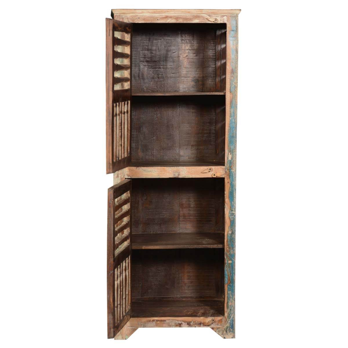 Rustic Reclaimed Wood Shutter Door 60 Narrow Kitchen Storage Cabinet