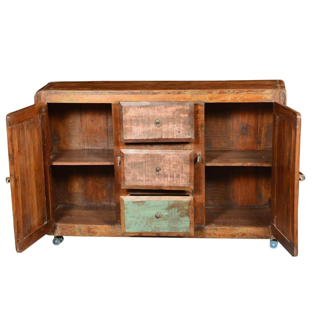 rustic reclaimed wood rolling wheels storage sideboard buffet. Black Bedroom Furniture Sets. Home Design Ideas