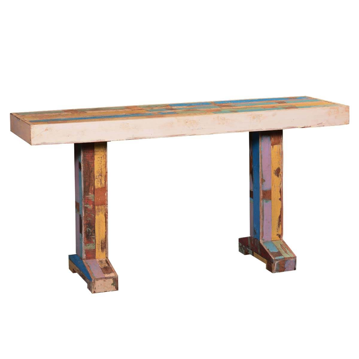 bright colors reclaimed wood double pedestal hall console. Black Bedroom Furniture Sets. Home Design Ideas