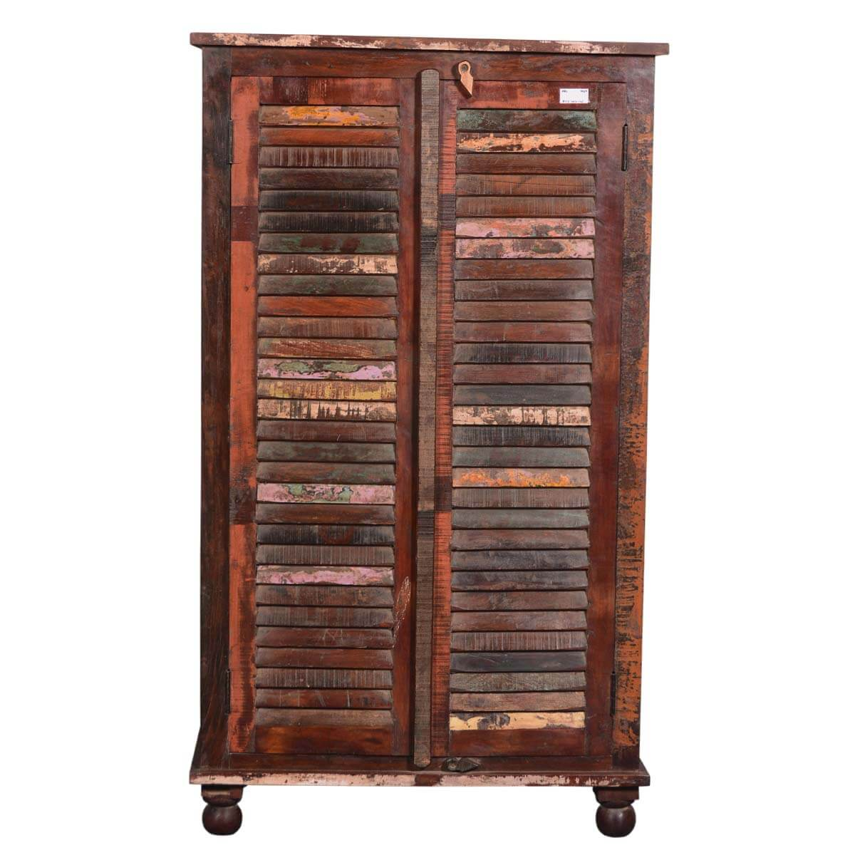 painted shutter doors reclaimed wood wardrobe armoire cabinet. Black Bedroom Furniture Sets. Home Design Ideas