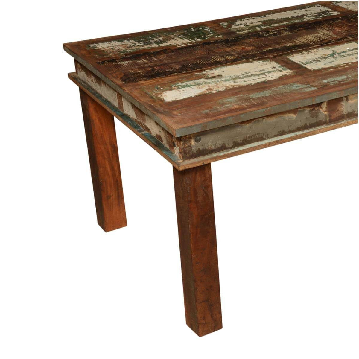 Appalachian distressed reclaimed wood 96 rustic dining table for Hardwood dining table
