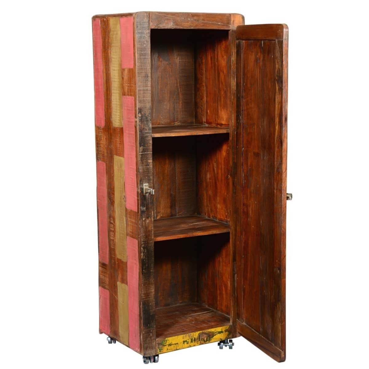clewiston rustic reclaimed wood rolling wheels tall storage cabinet. Black Bedroom Furniture Sets. Home Design Ideas