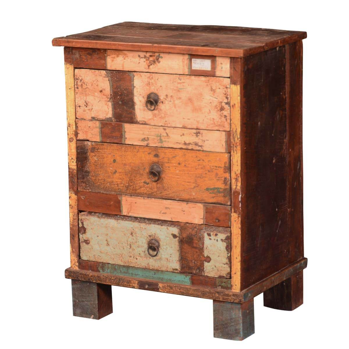 Rustic patches reclaimed wood nightstand mini chest end table for Rustic wood nightstand