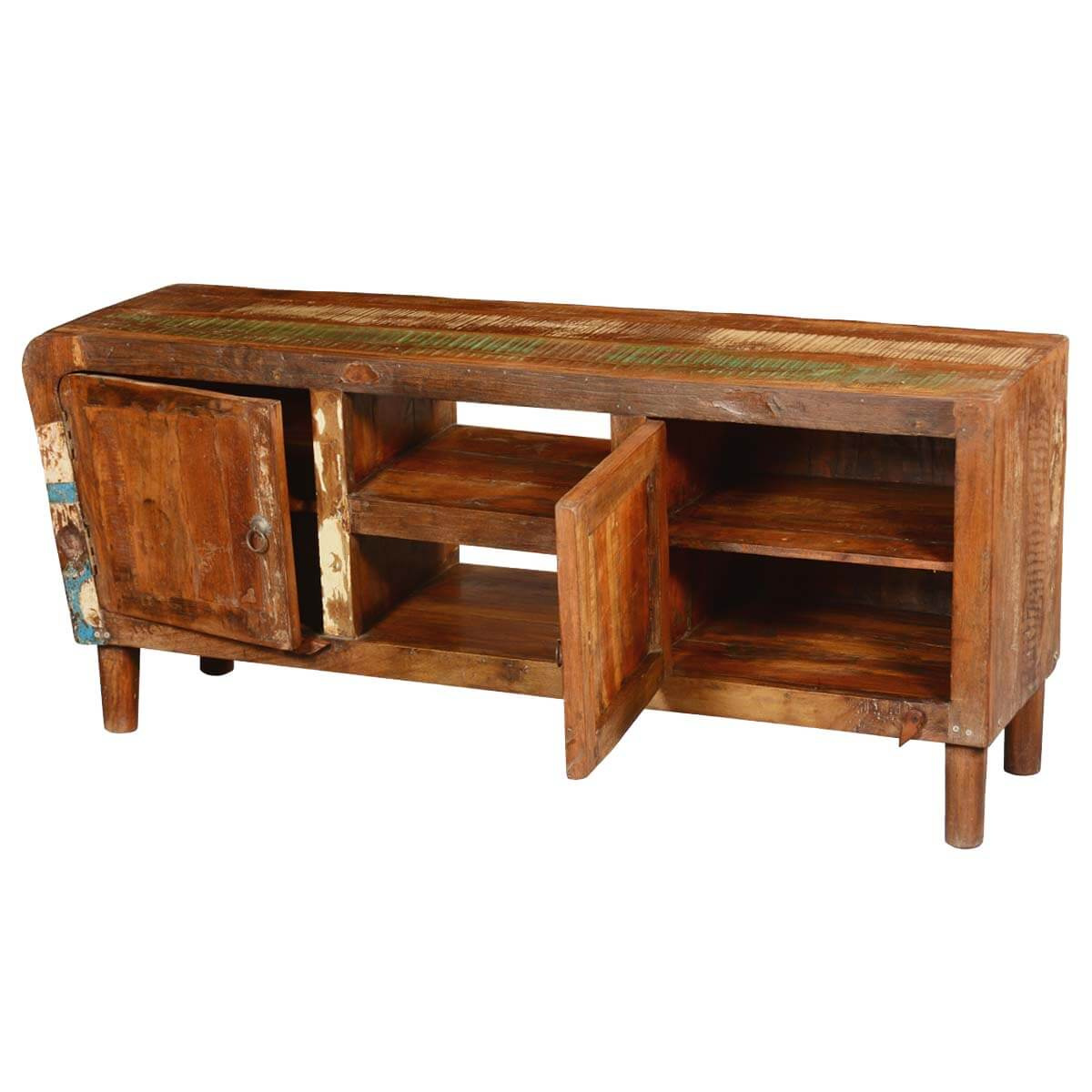 Reclaimed Wood Media Console Tv Stand With 4 Storage