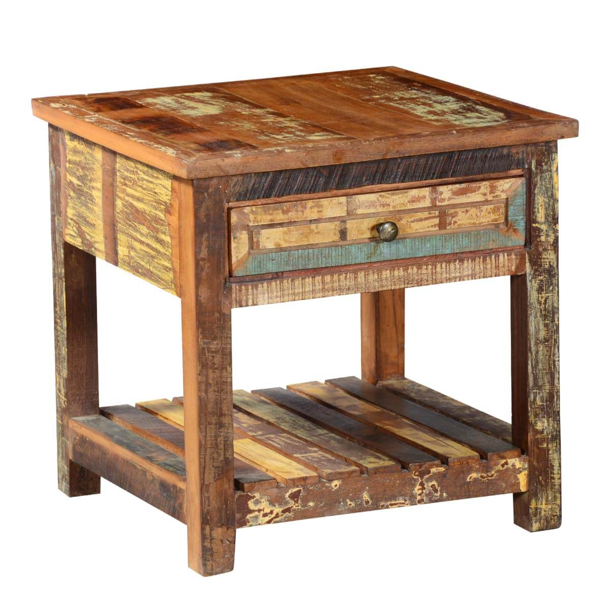 Reclaimed Wood End Tables ~ Rustic reclaimed wood tier bedside weathered end table