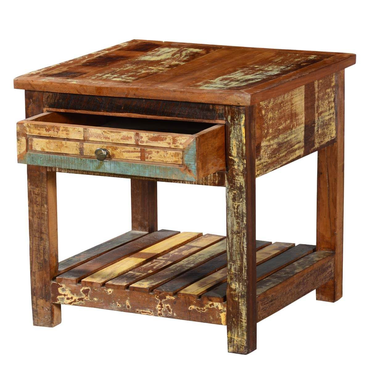 Rustic Reclaimed Wood 2 Tier Bedside Weathered End Table