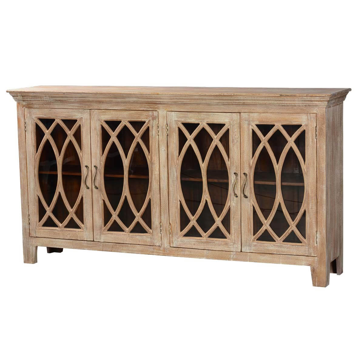 81 5 solid wood glass door sideboard 4 door rustic buffet for Sideboard glas