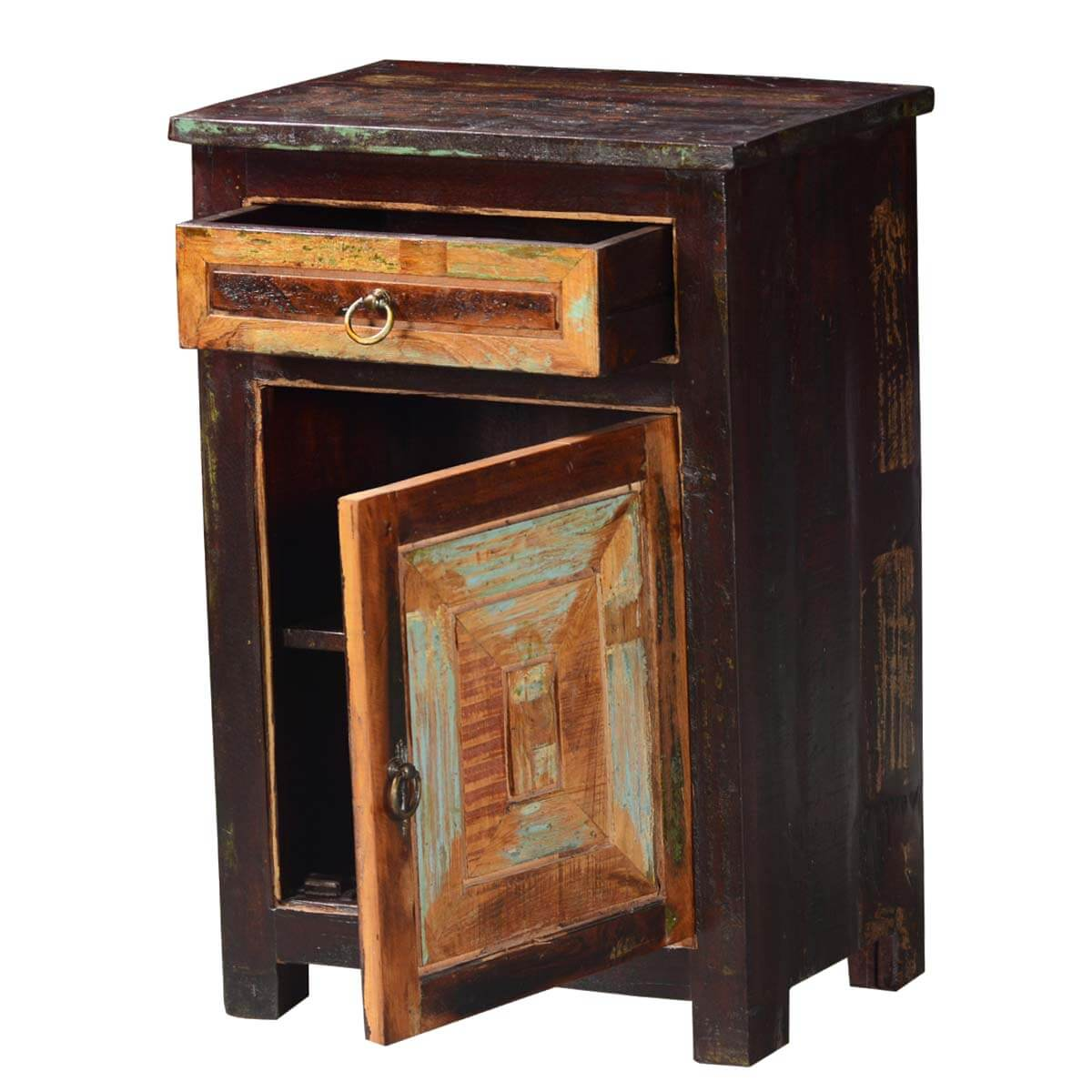 Classic Handcrafted Reclaimed Wood Bedside End Table With