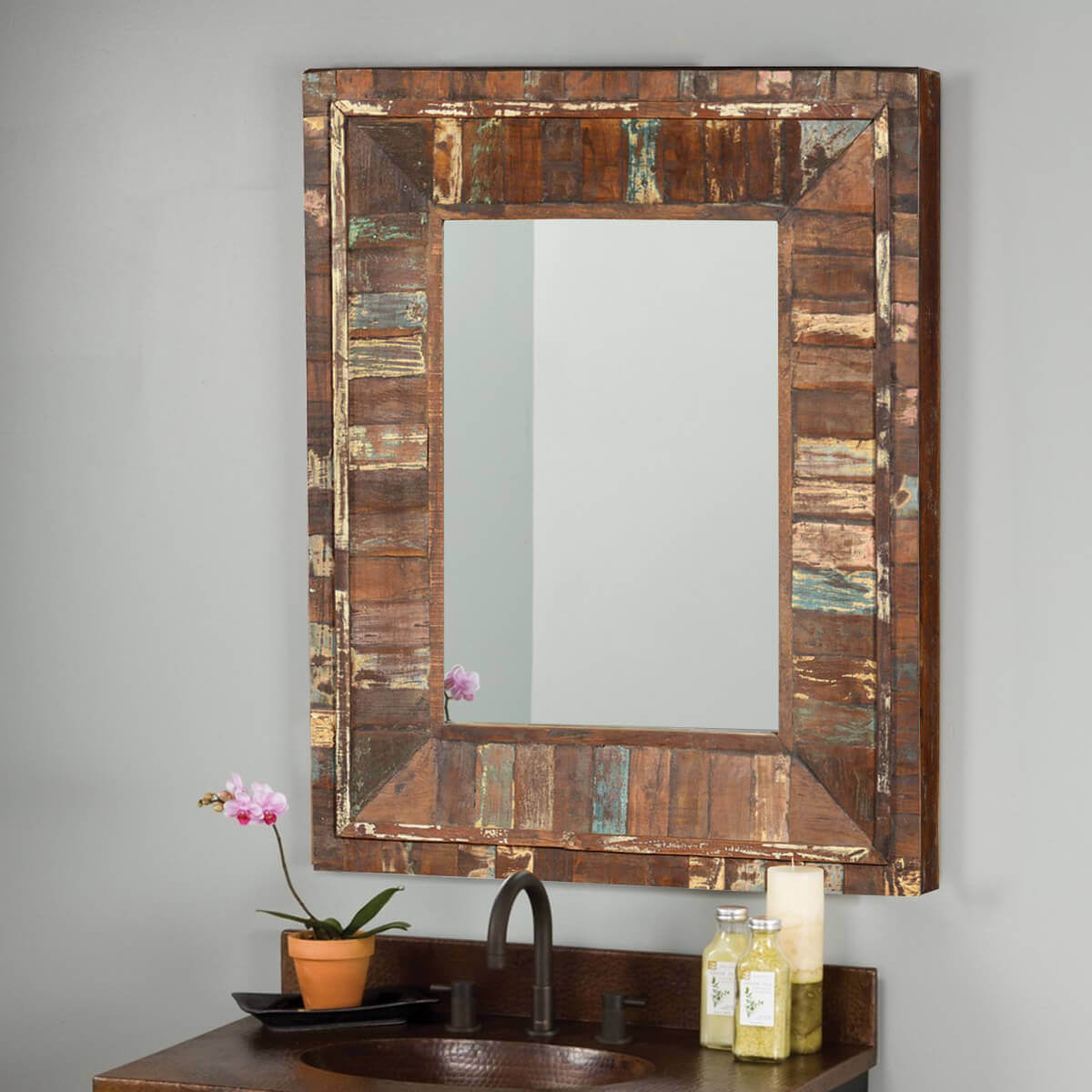 Eco friendly 36 rustic reclaimed wood handmade wall for Rustic mirror