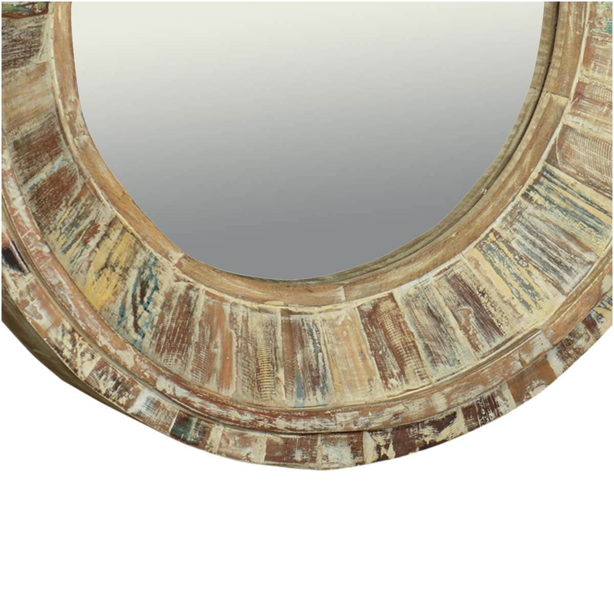 32 Round Classic Reclaimed Wood Wall Decor Mirror Frame