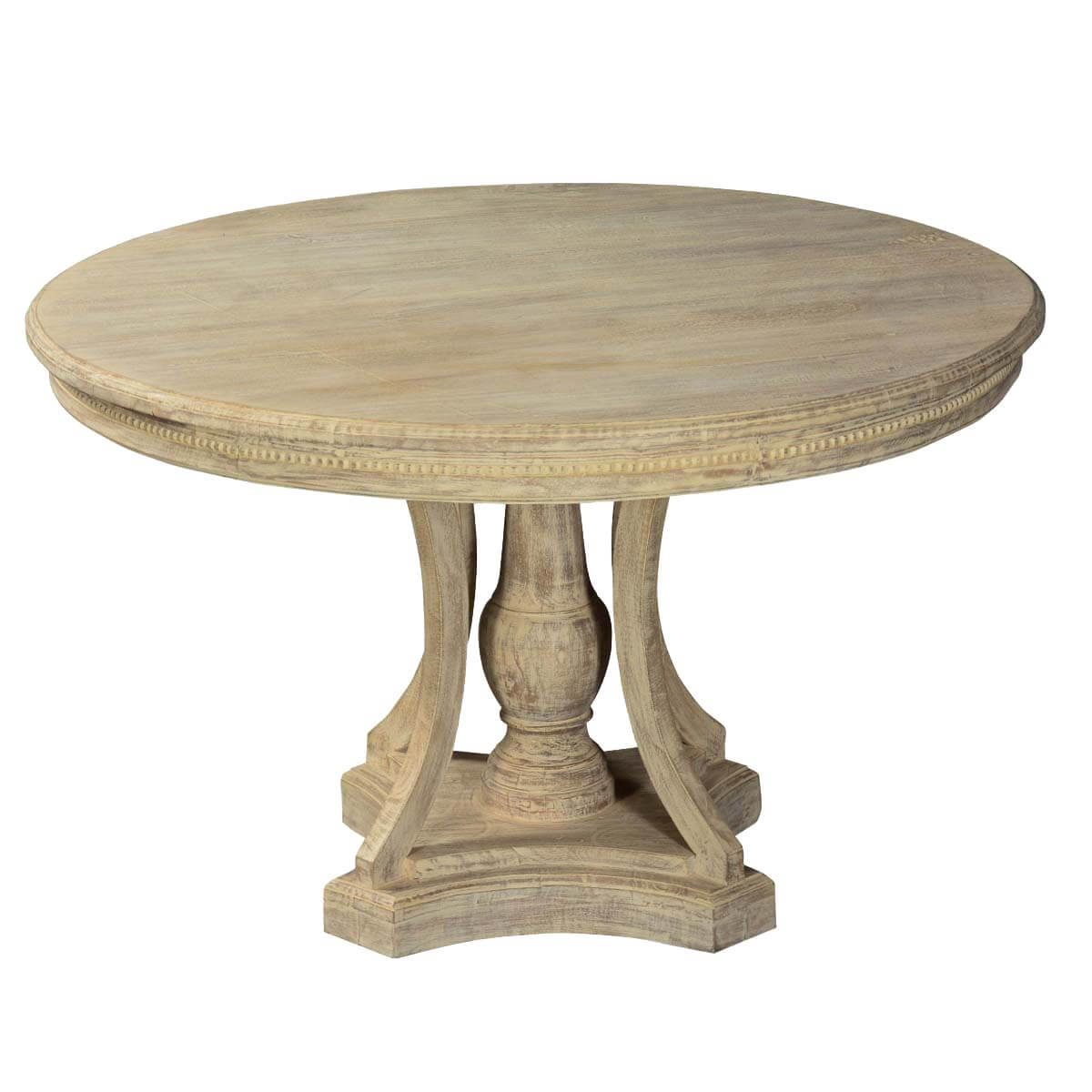 Whitewashed mango wood 47 round pedestal dining table for Pedestal dining table