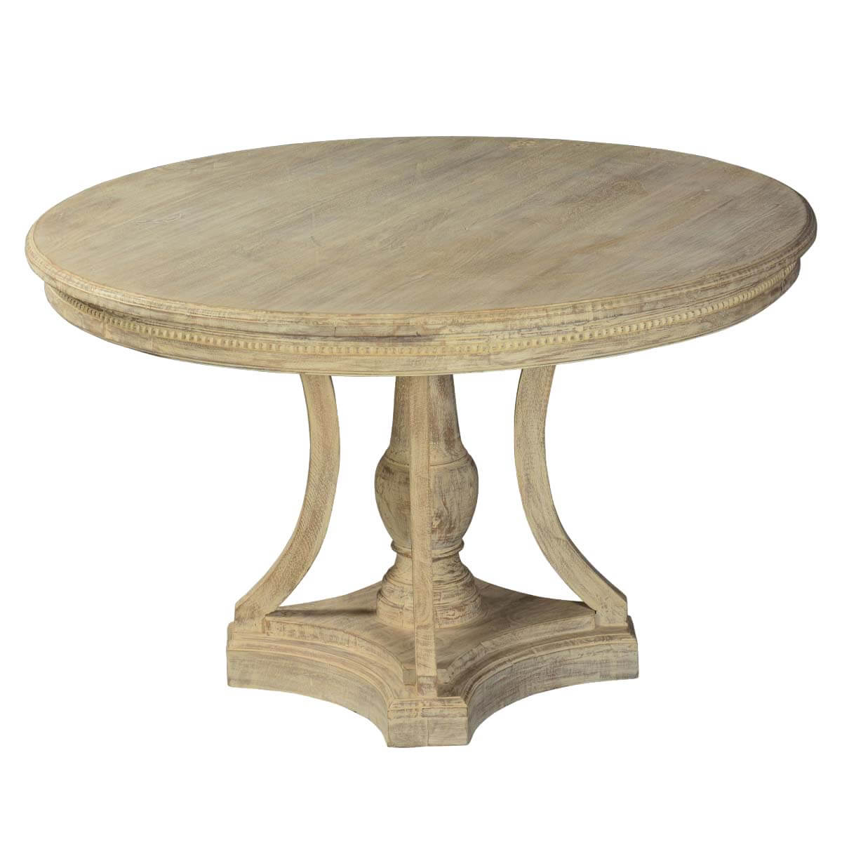 Whitewashed mango wood 47 round pedestal dining table for Round dining table