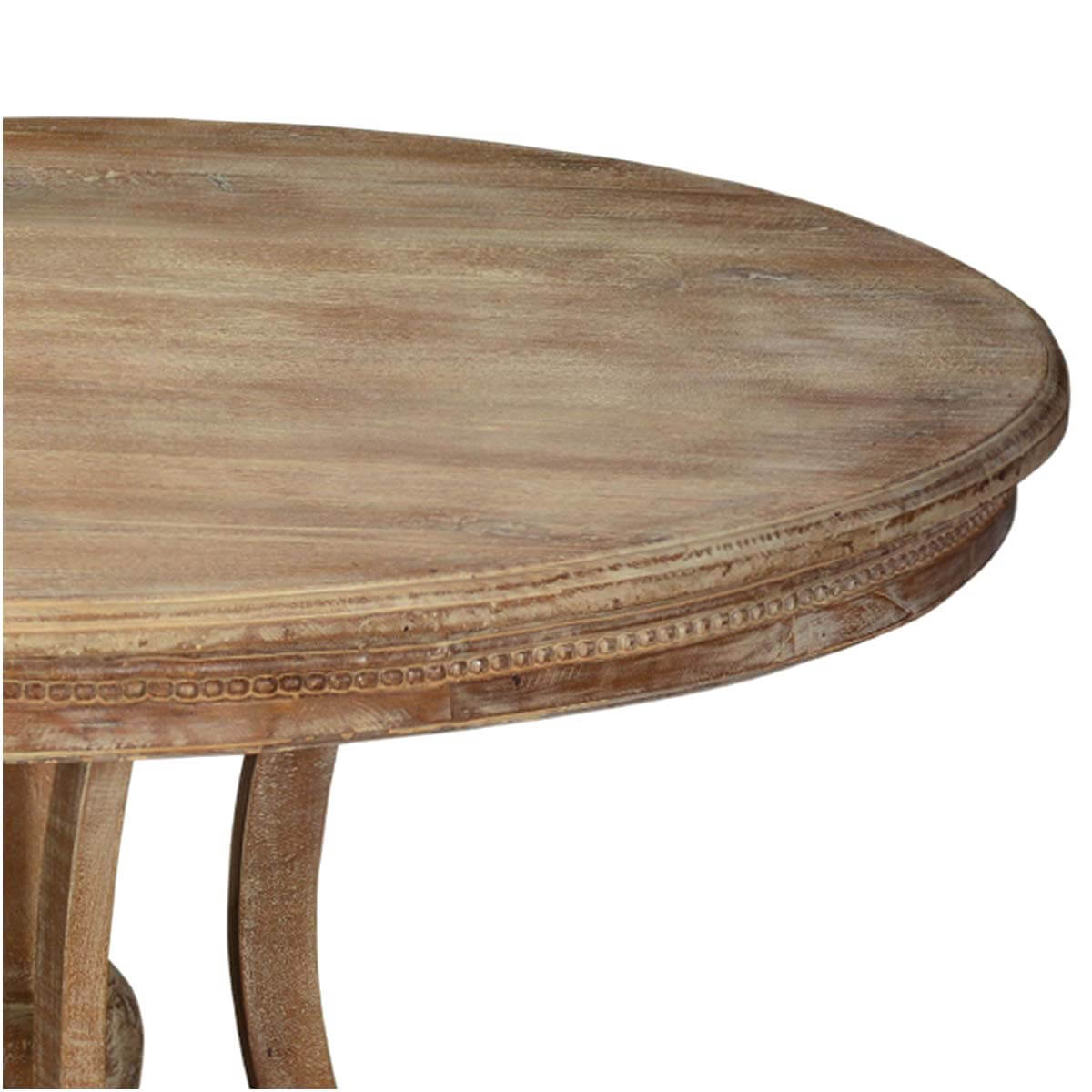 collection sheraton rustic mango wood 47 round pedestal dining table