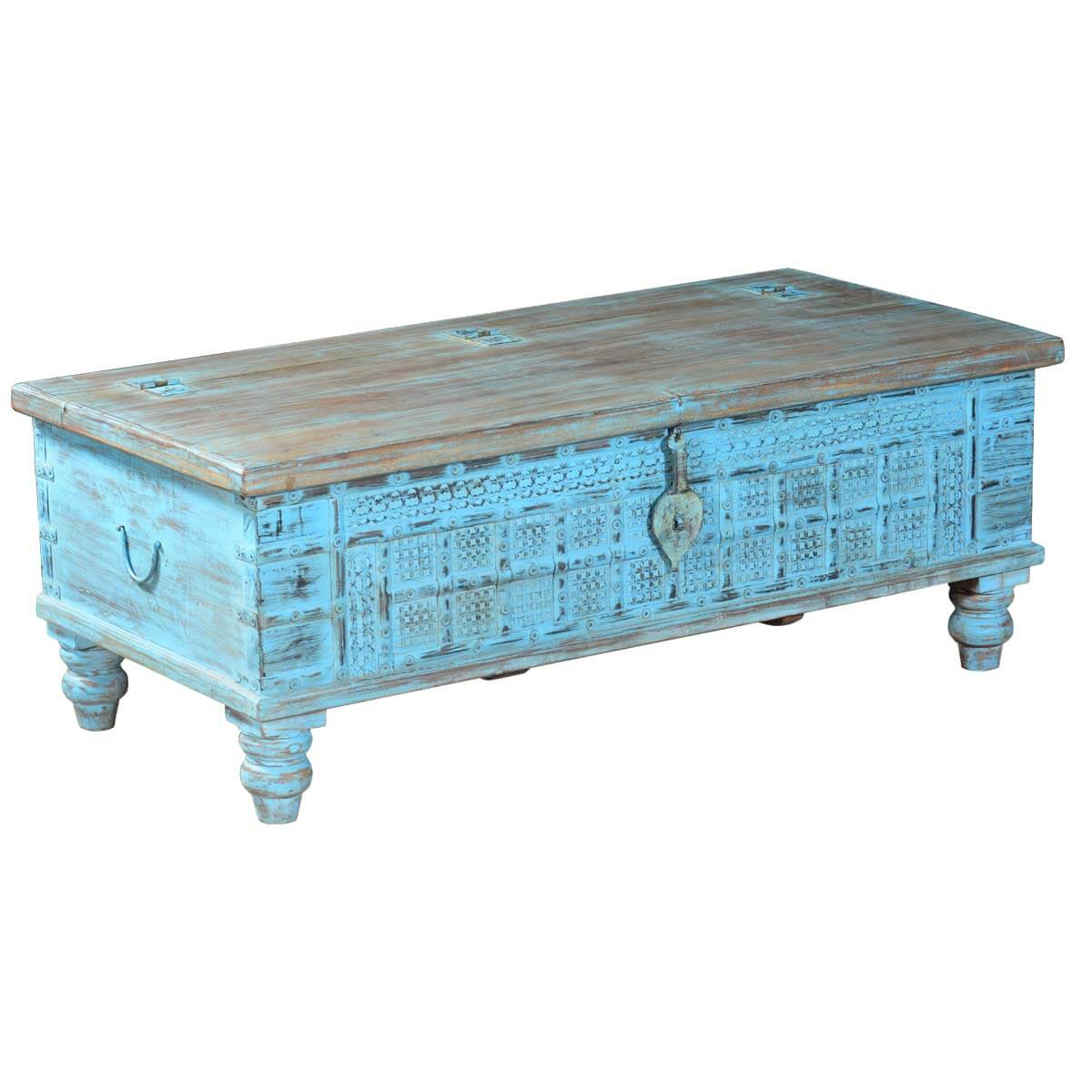 Sky Blue Hand Carved Reclaimed Wood Standing Coffee Table
