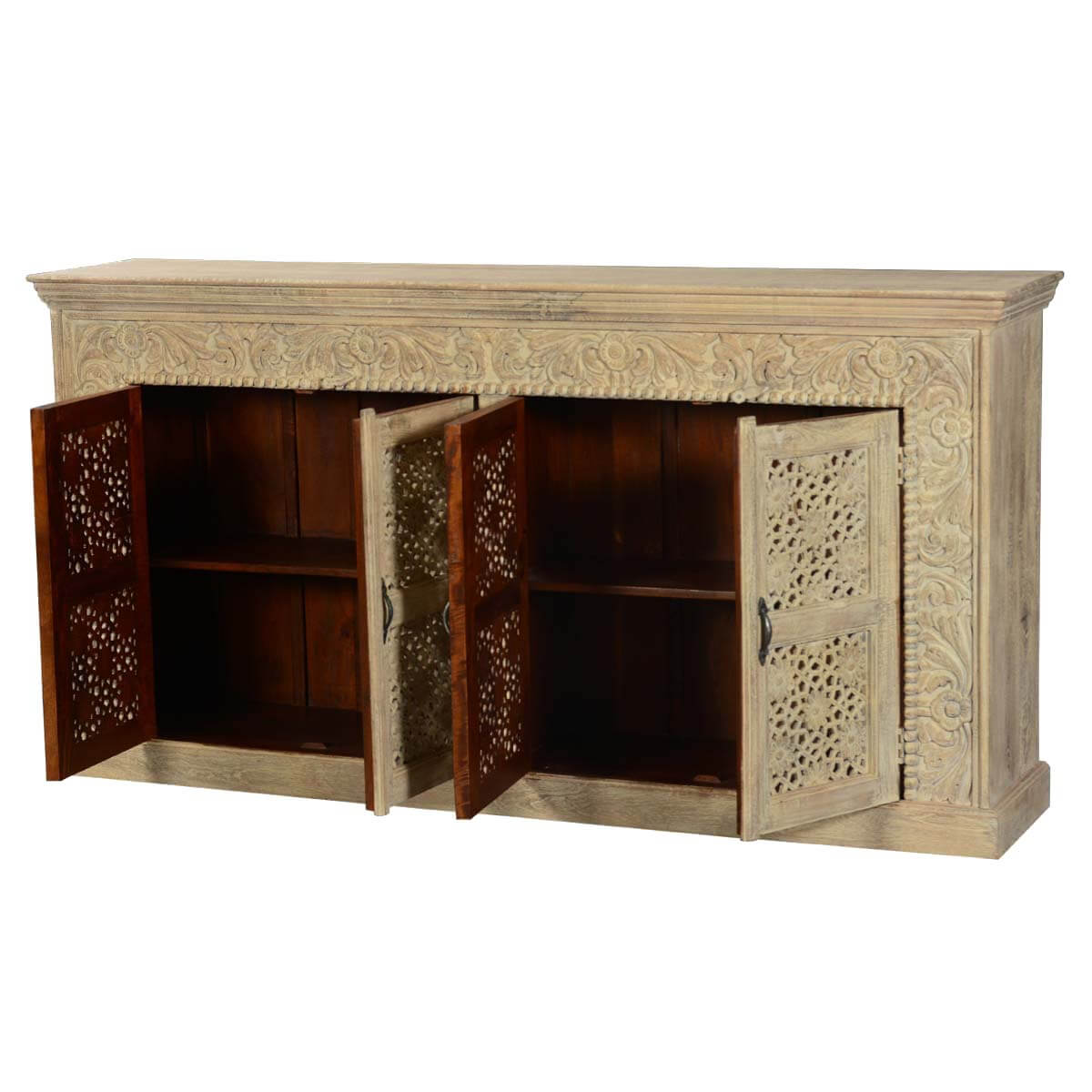 Marvelous photograph of  Collection Snowfall Antique White Mango Wood Sideboard Buffet Cabinet with #B27F19 color and 1200x1200 pixels
