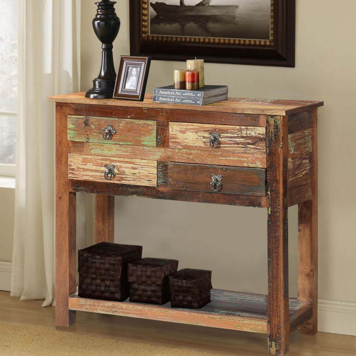 ashland rustic reclaimed wood 4 drawer hallway console table. Black Bedroom Furniture Sets. Home Design Ideas