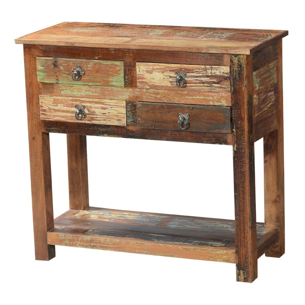 Rustic Narrow Foyer Table : Ashland rustic reclaimed wood drawer hallway console table