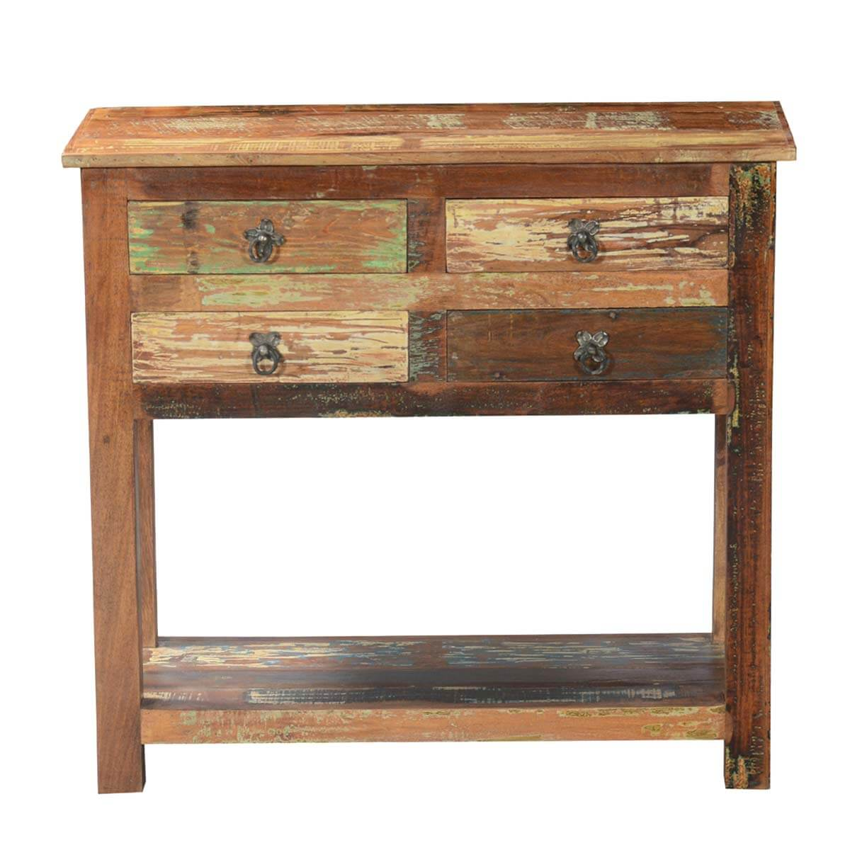 Console Table Woodworking ~ Ashland rustic reclaimed wood drawer hallway console table