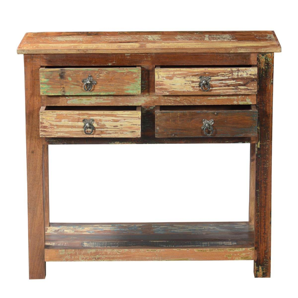 Ashland rustic reclaimed wood drawer hallway console table
