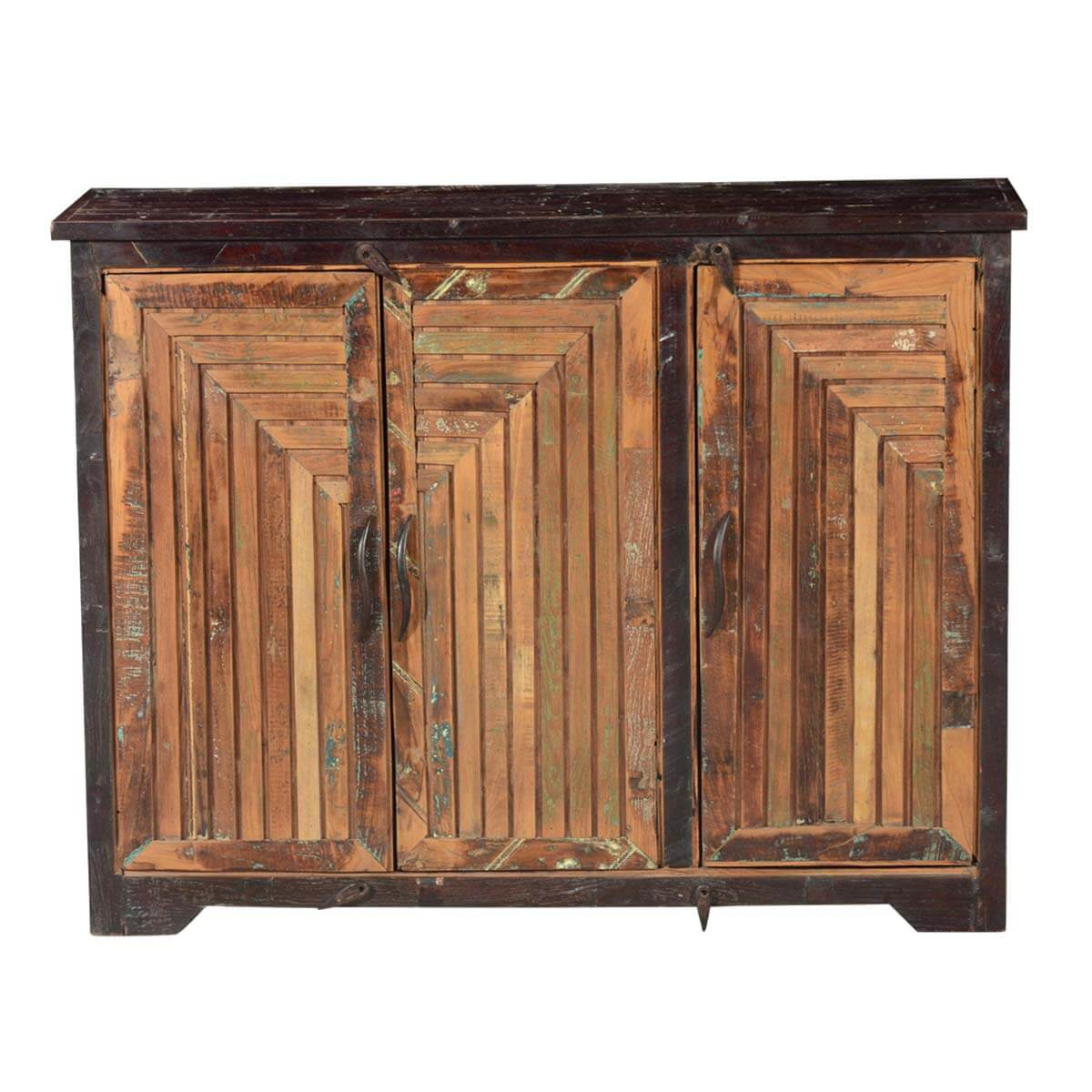 Sunburst reclaimed wood door rustic storage buffet cabinet