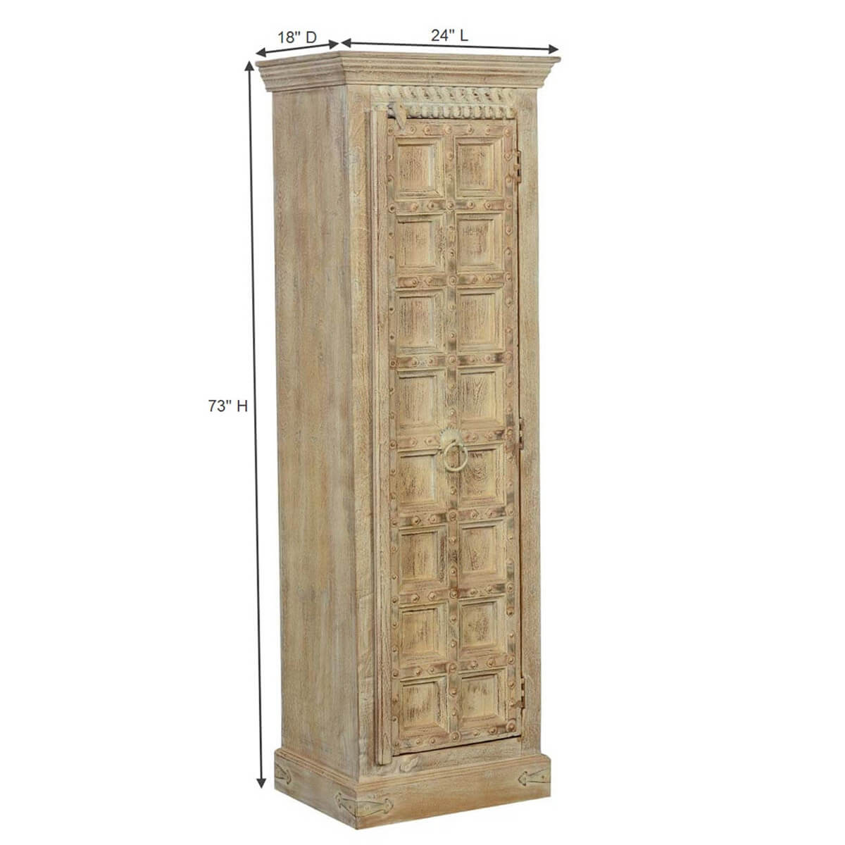 somerest reclaimed wood castle single door tall armoire cabinet. Black Bedroom Furniture Sets. Home Design Ideas