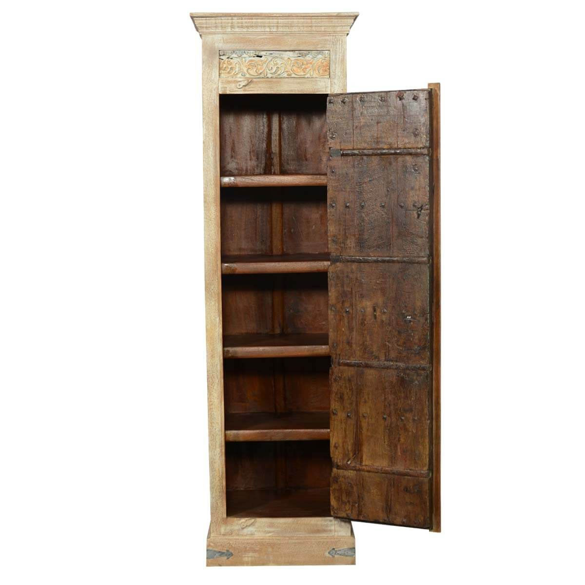 82 tall reclaimed wood storage armoire cabinet for Wood cabinets