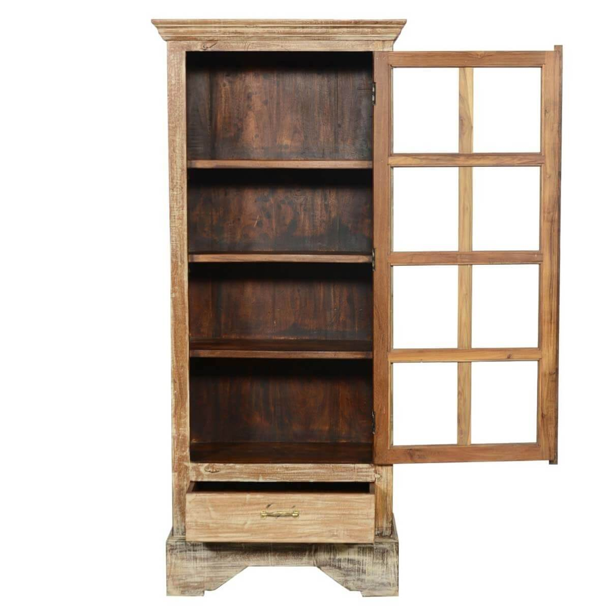 Rustic solid wood glass doors bedroom armoire wardrobe w for Solid wood door with glass