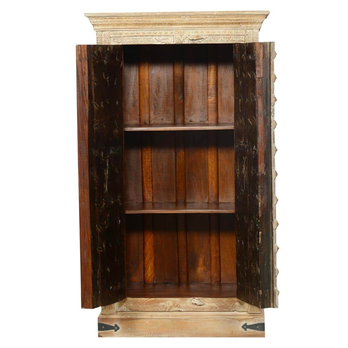 hand carved vintage gates storage cabinet rustic bedroom armoire