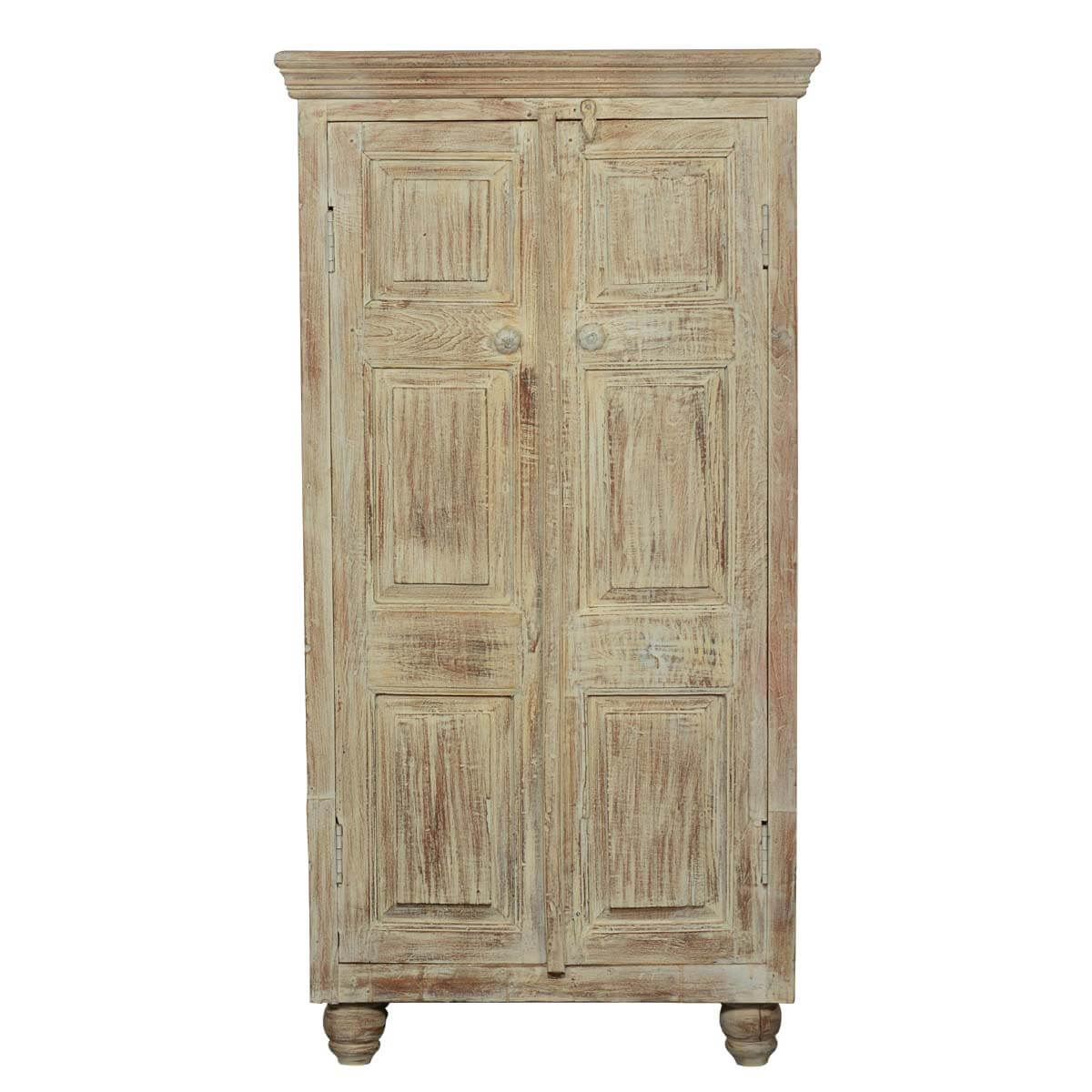 Rustic distressed solid wood storage cabinet armoire for Wood cabinets