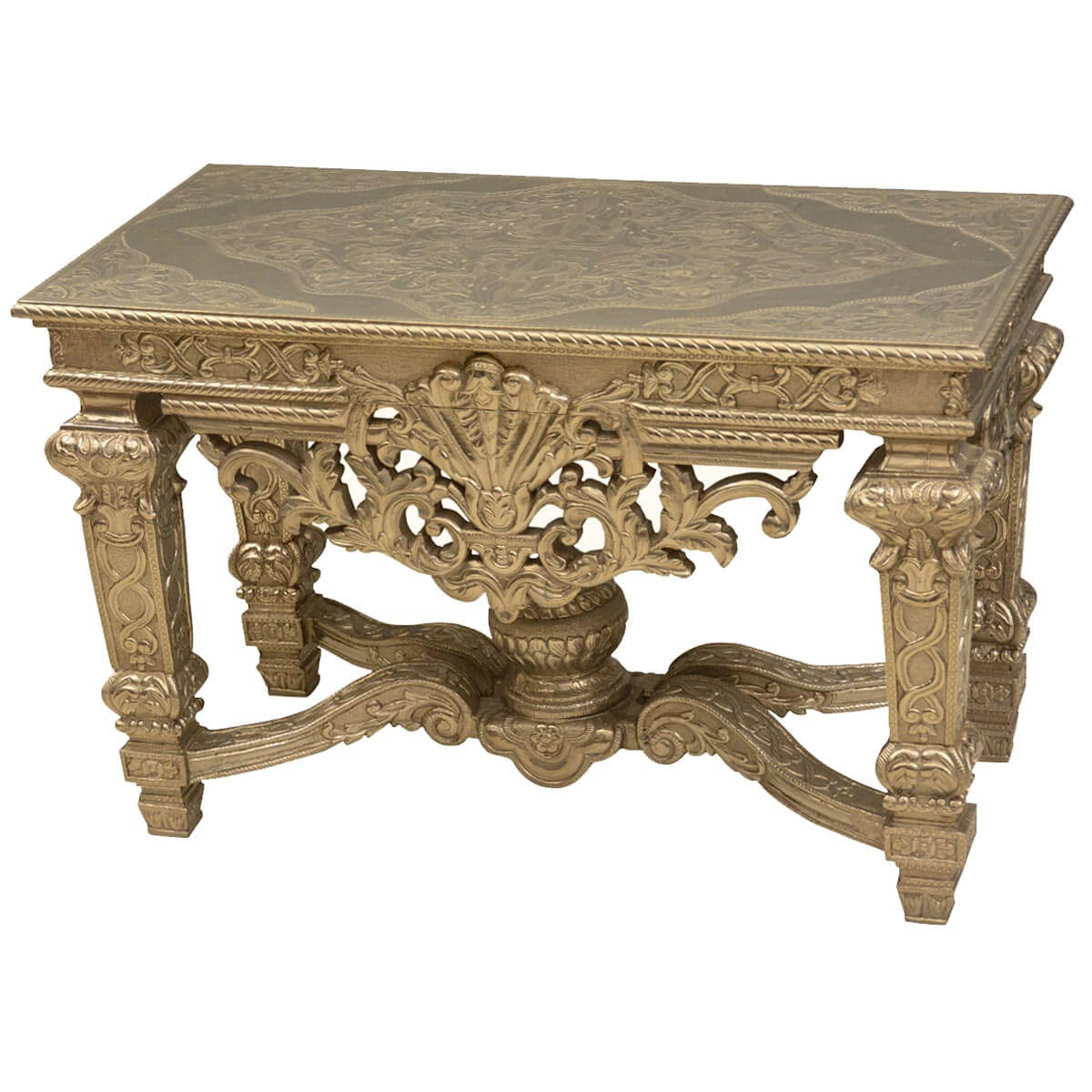 French baroque teak wood silver metal ornate 48 console table - Ornate hall table ...