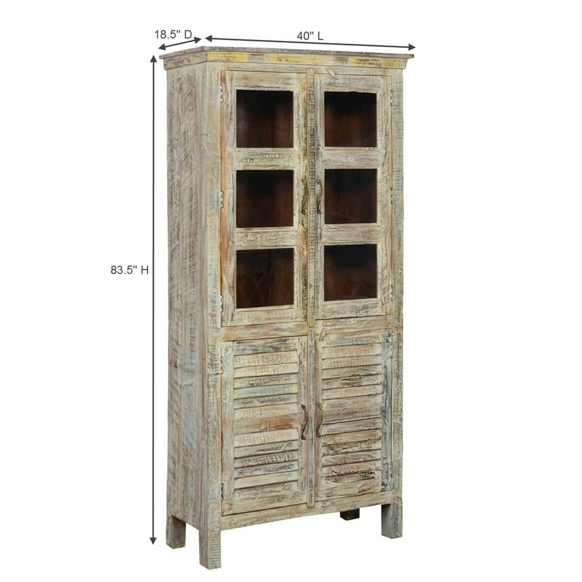 Wooden Wardrobe Cabinet ~ Winter white solid mango wood rustic armoire wardrobe cabinet