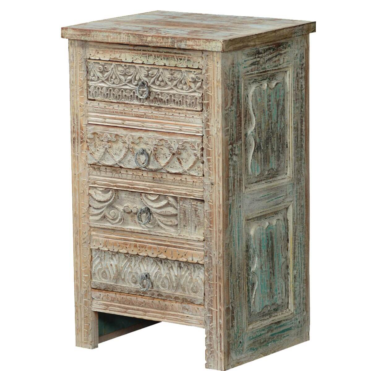 Tudor winter white rustic mango wood 4 drawer nightstand for Wood nightstand with drawers