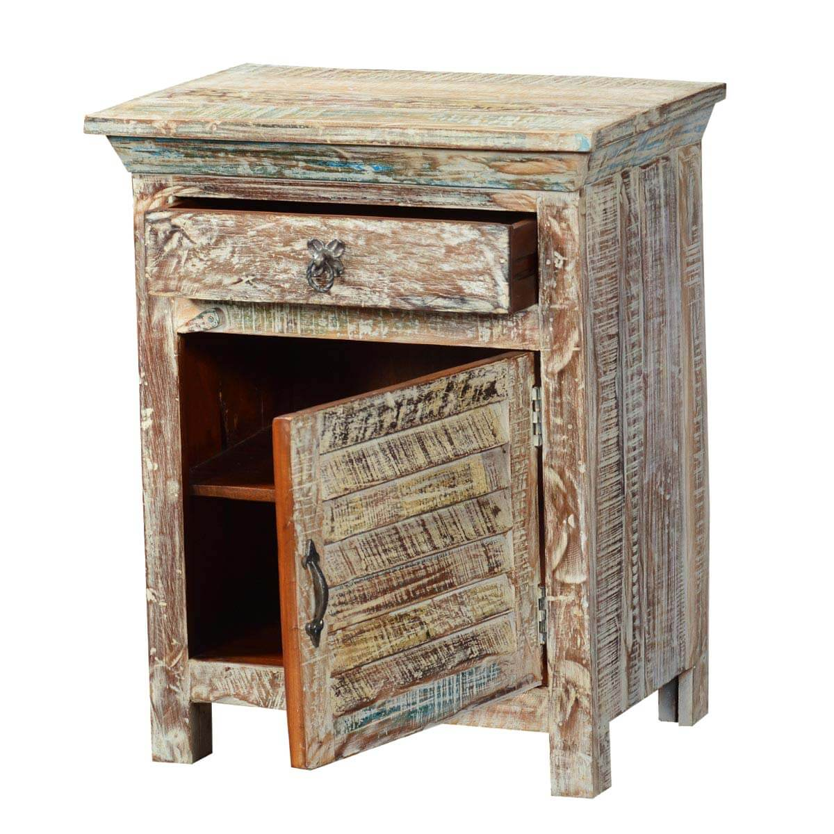 Winter White Shutter Door Reclaimed Wood Nightstand End