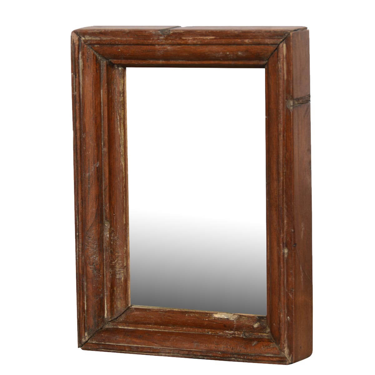 Rustic farmhouse reclaimed wood handmade wall mirror frame for Rustic mirror